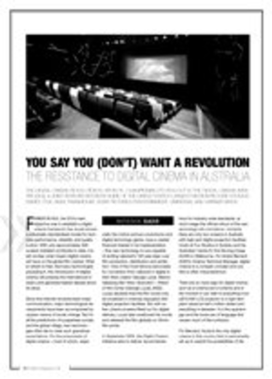 You Say You (Don't) Want a Revolution: The Resistance to Digital Cinema in Australia