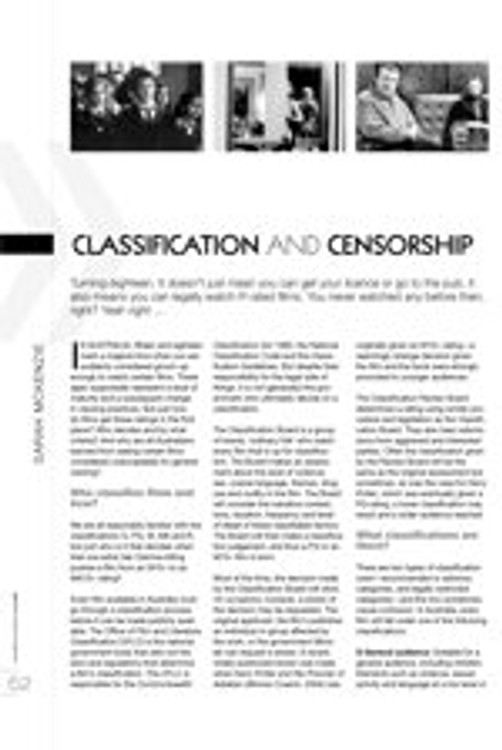 Classification and Censorship