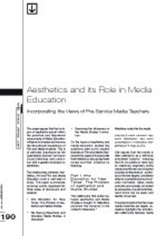 Aesthetics and Its Role in Media Education