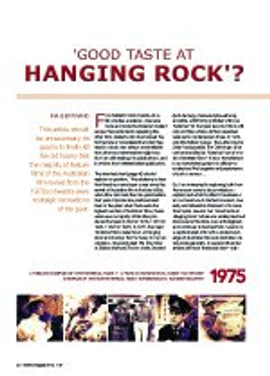 ?ood Taste at Hanging Rock?? Historical Nostalgia in the Films of the Australian Revival