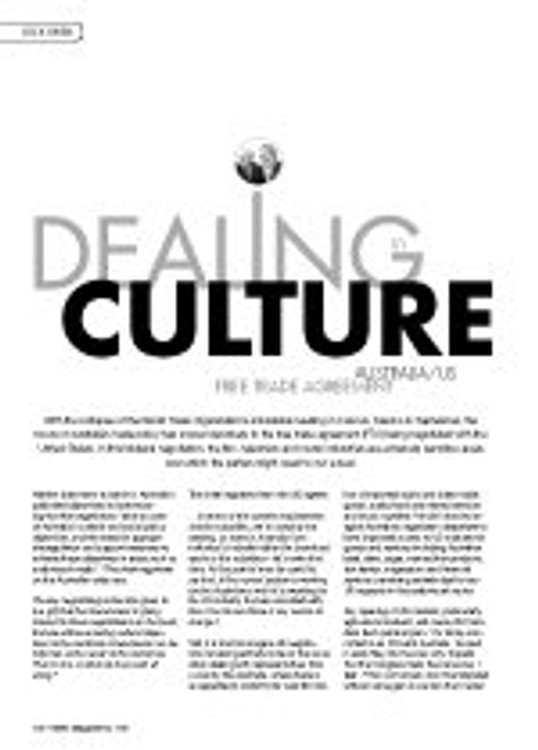 Dealing in Culture: Australia/US Free Trade Agreement