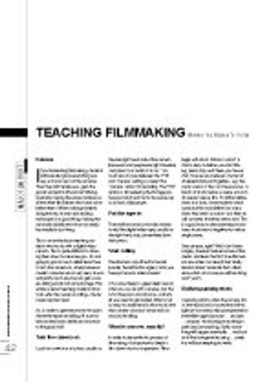 Teaching Filmmaking - Whether You Wanted To Or Not