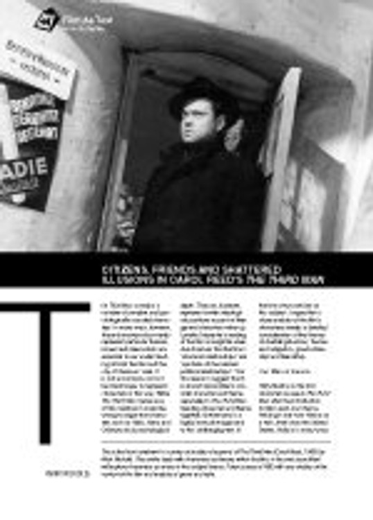 Citizens, Friends and Shattered Illusions in Carol Reed? ?he Third Man?(Film As Text)
