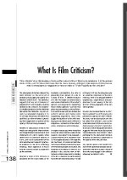 What is Film Criticism?