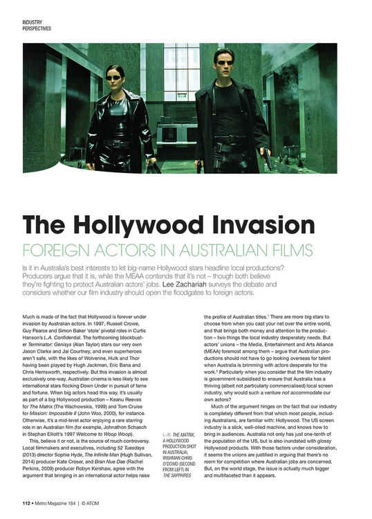 The Hollywood Invasion: Foreign Actors in Australian Films