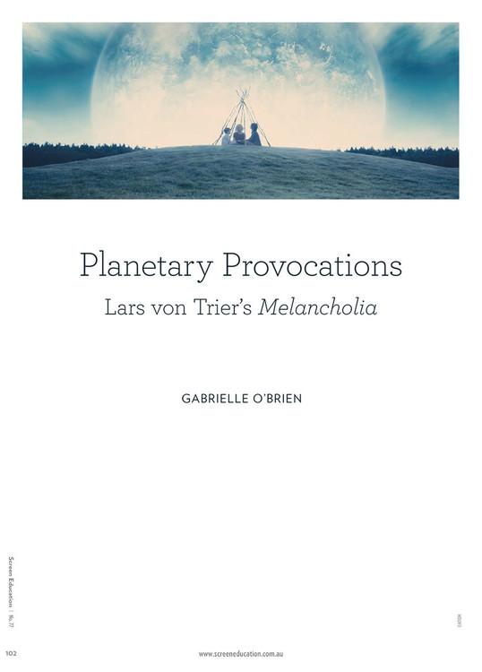 Planetary Provocations: Lars von Trier's Melancholia