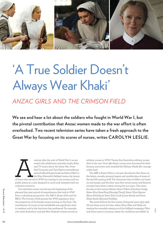 'A True Soldier Doesn't Always Wear Khaki': Anzac Girls and The Crimson Field