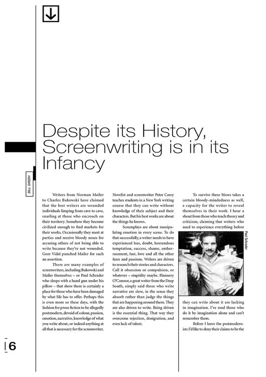 Despite Its History, Screenwriting Is in Its Infancy