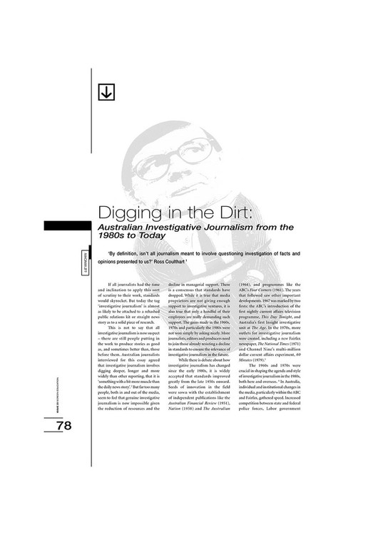 Digging in the Dirt: Australian Investigative Journalism from the 1980s to Today