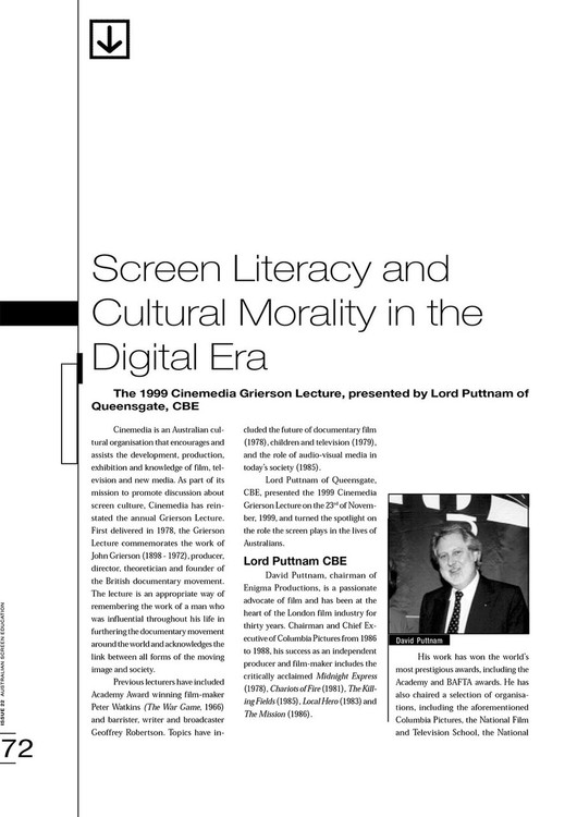 Screen Literacy and Cultural Morality in the Digital Era: The 1999 Cinemedia Grierson Lecture, Presented by Lord Puttnam of Queensgate, CBE