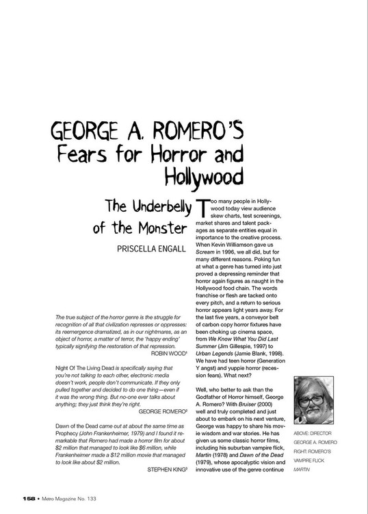 George A Romero's Fears for Horror and Hollywood: The Underbelly of the Monster