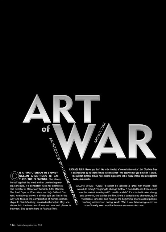 Art of War: An Interview with Gillian Armstrong