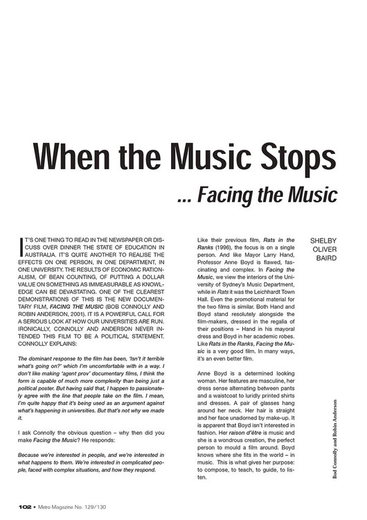 When the Music Stops: 'Facing the Music'