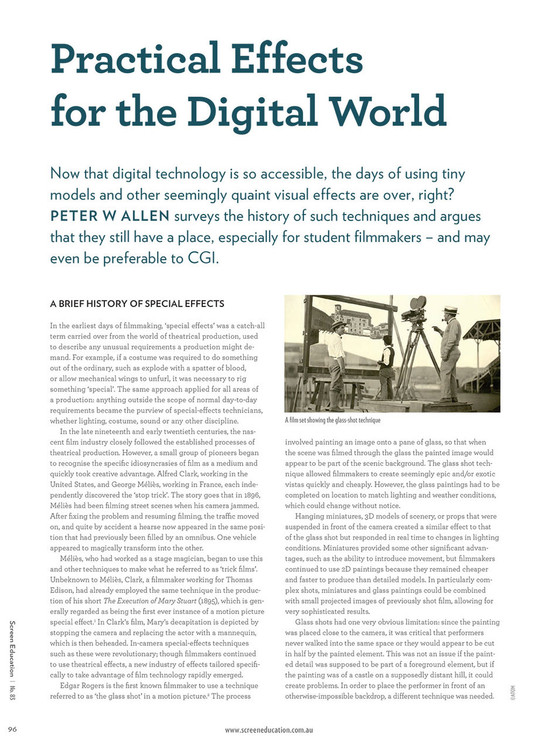 Practical Effects for the Digital World
