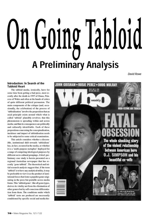 On Going Tabloid: A Preliminary Analysis