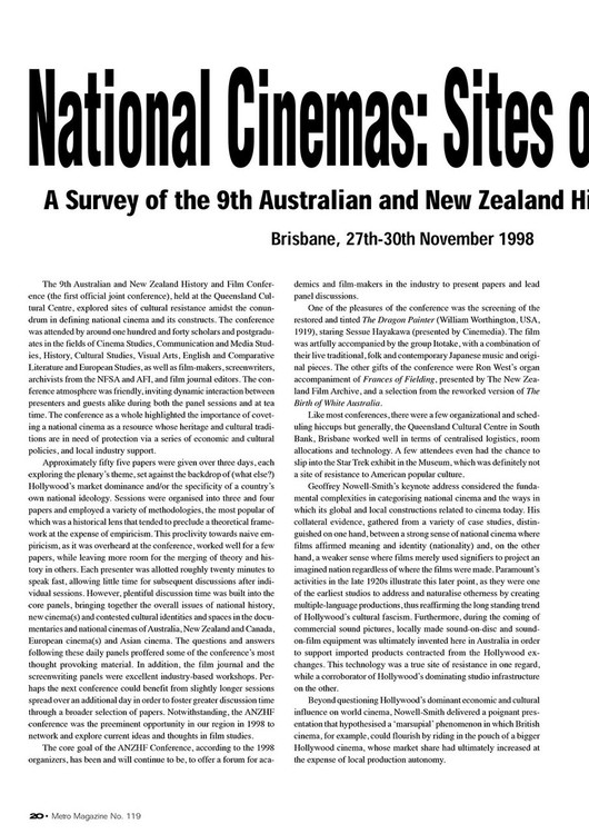 National Cinemas: Sites of Resistance? A Survey of the 9th Australian and New Zealand History and Film Conference