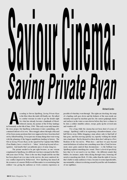 Saviour Cinema: 'Saving Private Ryan'