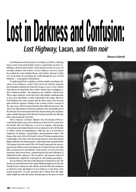 Lost in Darkness and Confusion: 'Lost Highway', Lacan, and film noir