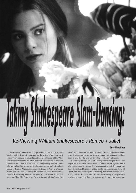 Taking Shakespeare Slam-Dancing: Reviewing 'William Shakespeare's Romeo + Juliet'