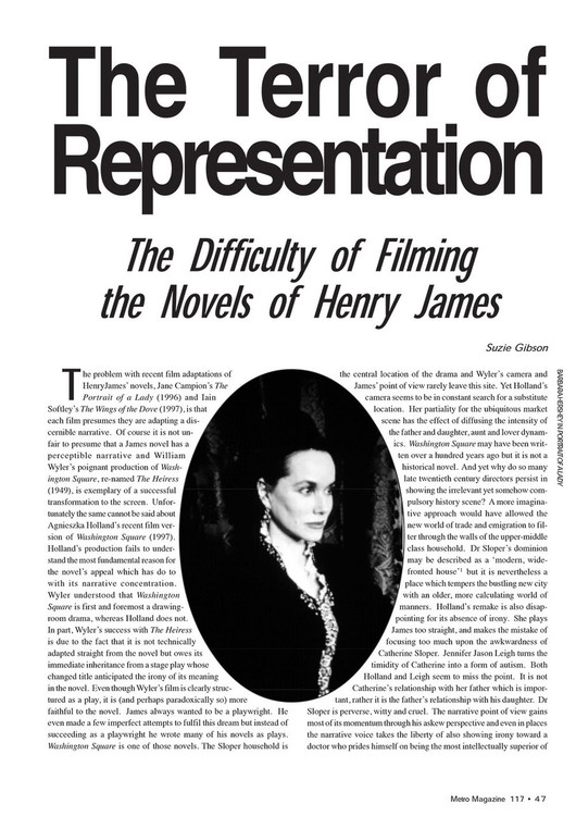 The Terror of Representation: The Difficulty of Filming the Novels of Henry James