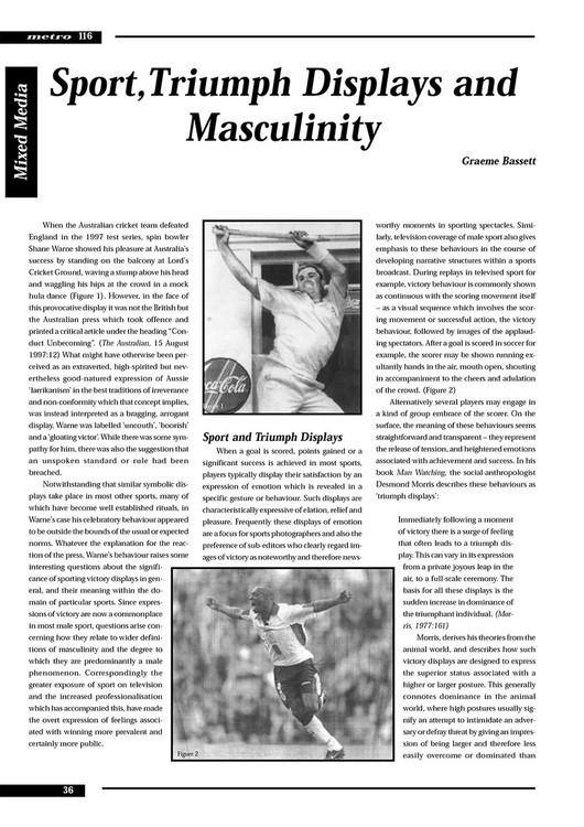 Sport, Triumph Displays and Masculinity