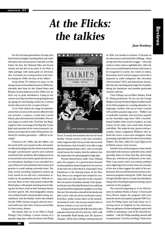 At the Flicks: The Talkies'