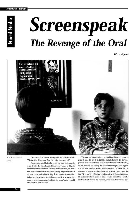 Screenspeak: The Revenge of the Oral