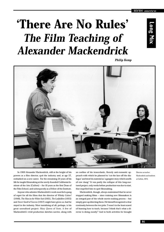There Are No Rules': The Film Teaching of Alexander Mackendrick
