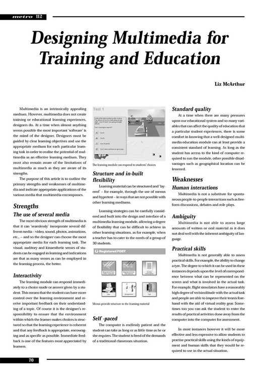 Designing Multimedia for Training and Education