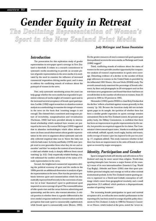 Gender Equity in Retreat: The Declining Representation of Women's Sport in the New Zealand Print Media