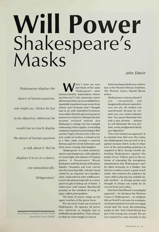 Will Power: Shakespeare's Masks