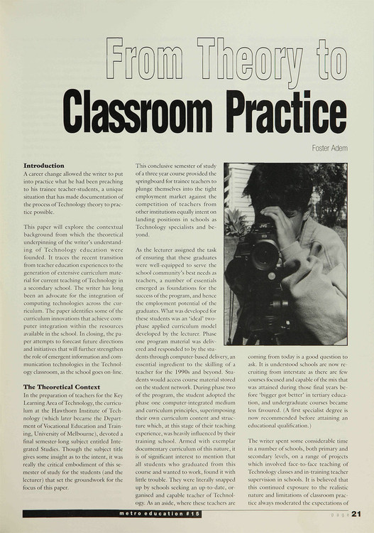 From Theory to Classroom Practice