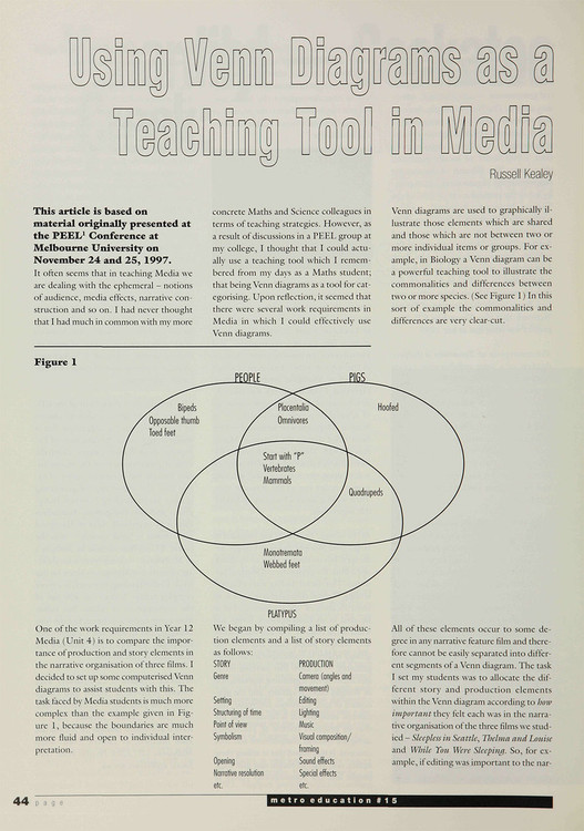 using venn diagrams as a teaching tool in media