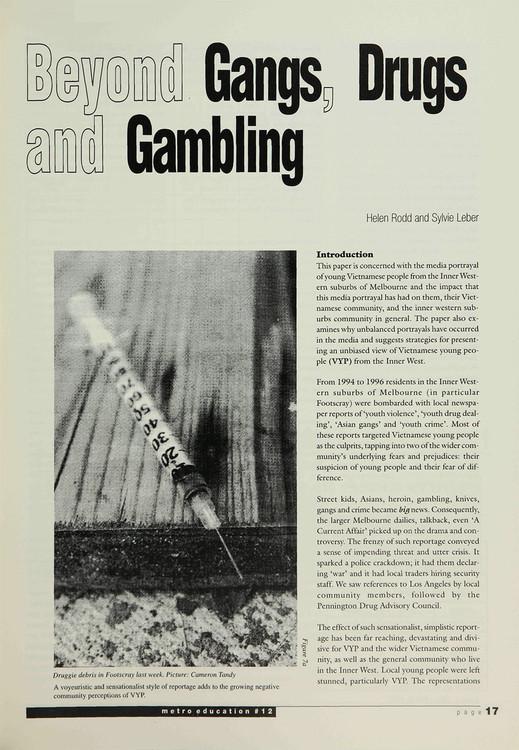 Beyond Gangs, Drugs and Gambling