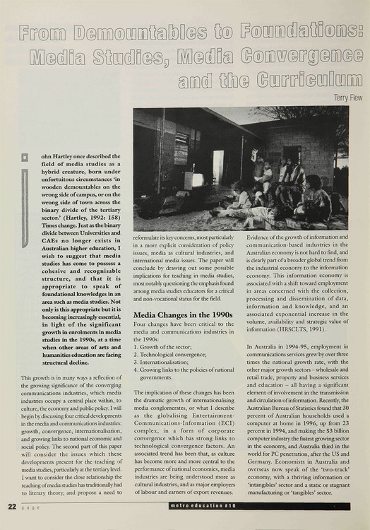 From Demountables to Foundations: Media Studies, Media Convergence and the Curriculum