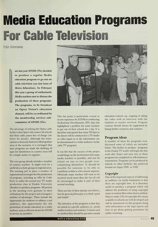 Media Education Programs for Cable Television