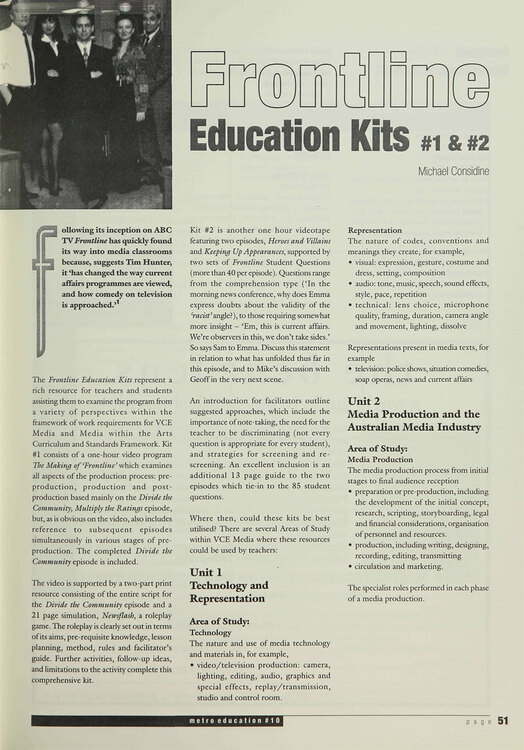 Frontline' Education Kits 1 and 2