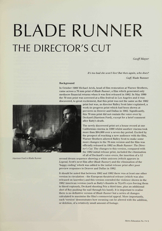 Blade Runner: The Director's Cut'