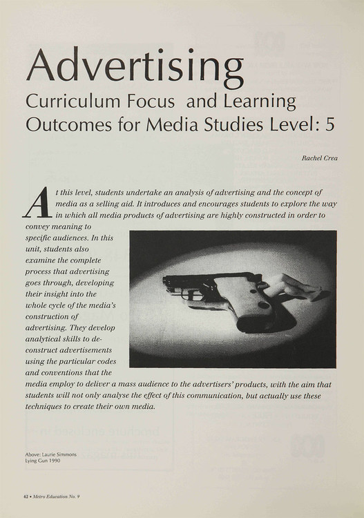 Advertising: Curriculum Focus and Learning Outcomes for Media Studies Level 5