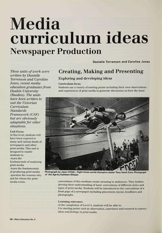 Media Curriculum Ideas: Newspaper Production