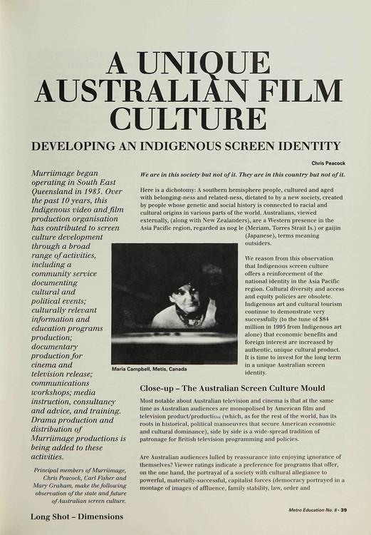 A Unique Australian Film Culture: Developing an Indigenous Screen Identity