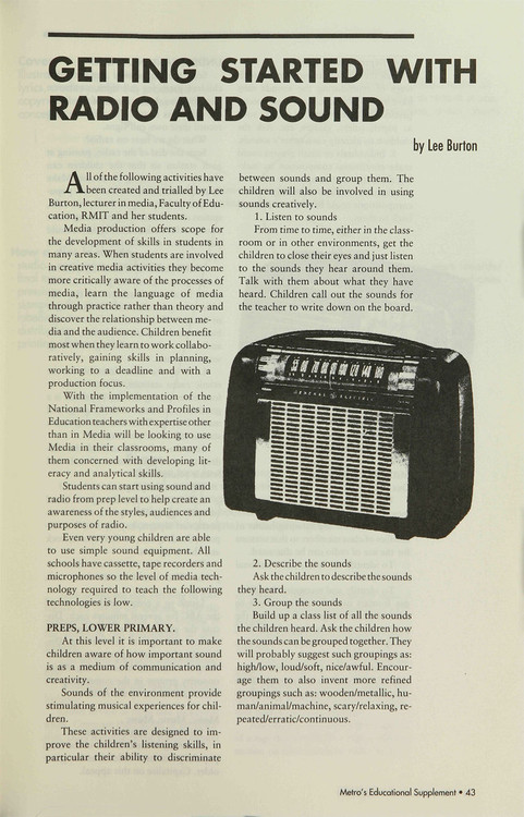 Getting Started with Radio and Sound