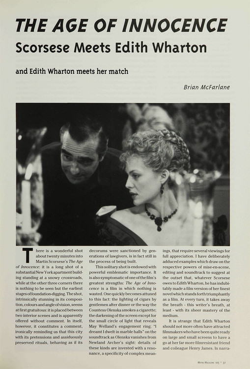 The Age of Innocence': Scorsese Meets Edith Wharton and Edith Wharton Meets Her Match