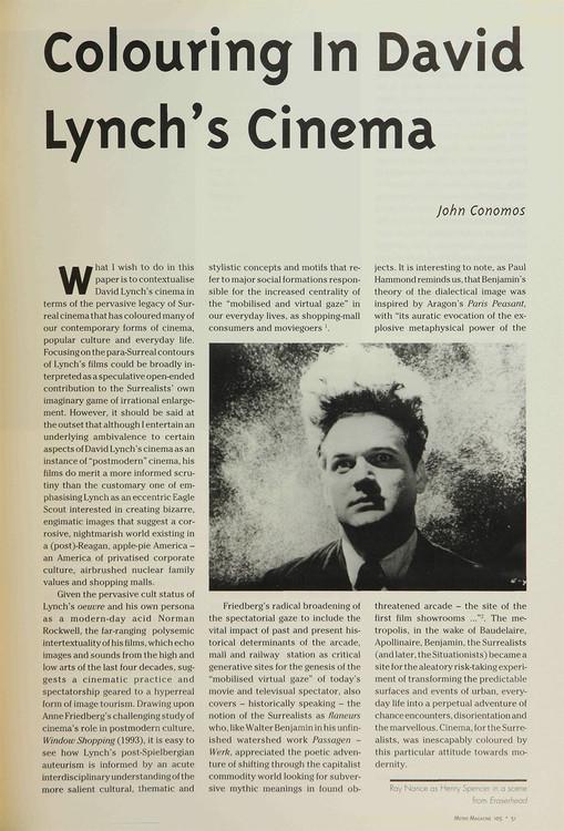 Colouring in David Lynch's Cinema