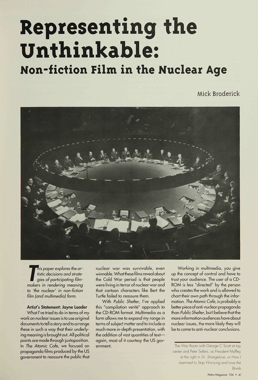 Representing the Unthinkable: Non-fiction Film in the Nuclear Age