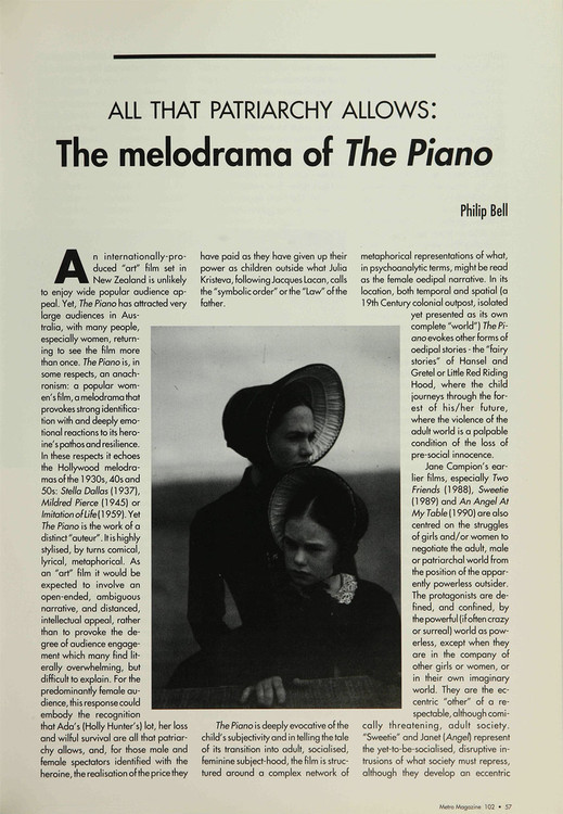 All that Patriarchy Allows: The Melodrama of 'The Piano'