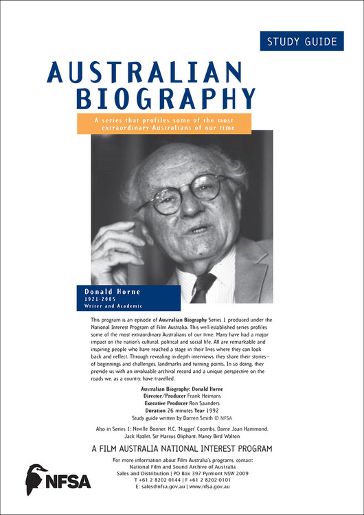 Australian Biography Series - Donald Horne (Study Guide)