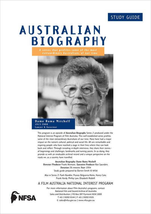 Australian Biography Series - Dame Roma Mitchell (Study Guide)