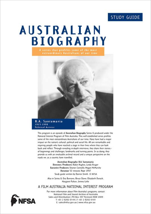 Australian Biography Series - BA Santamaria (Study Guide)
