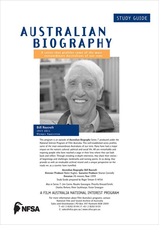 Australian Biography Series - Bill Roycroft (Study Guide)